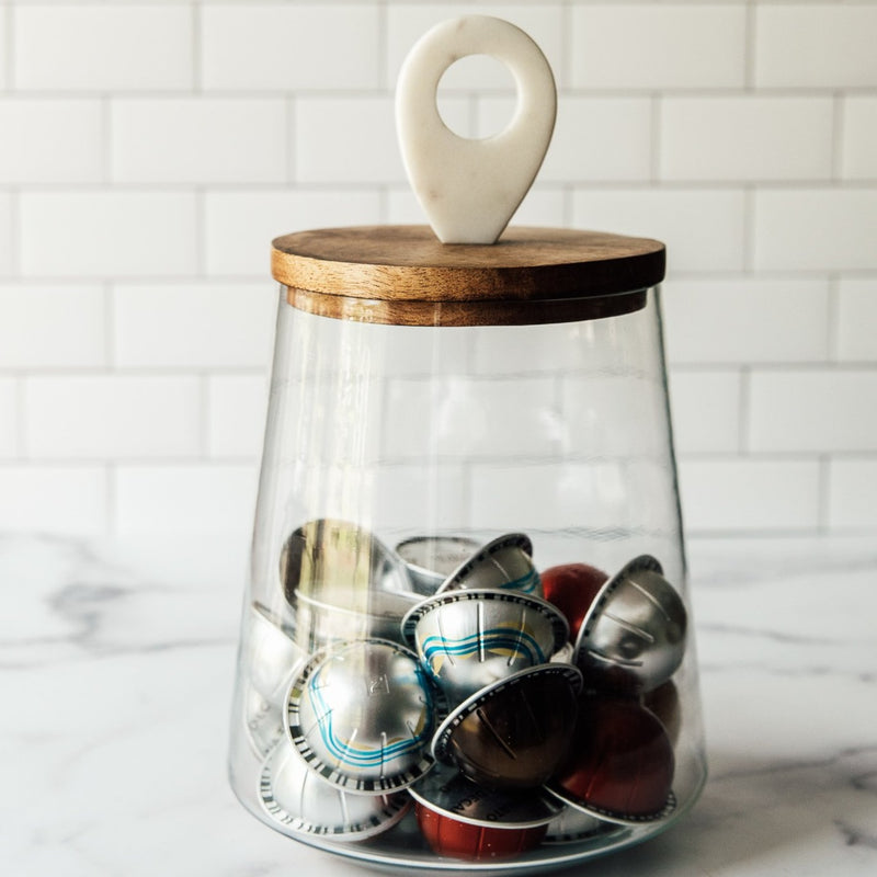 Glass Jar w/ wood+marble 8