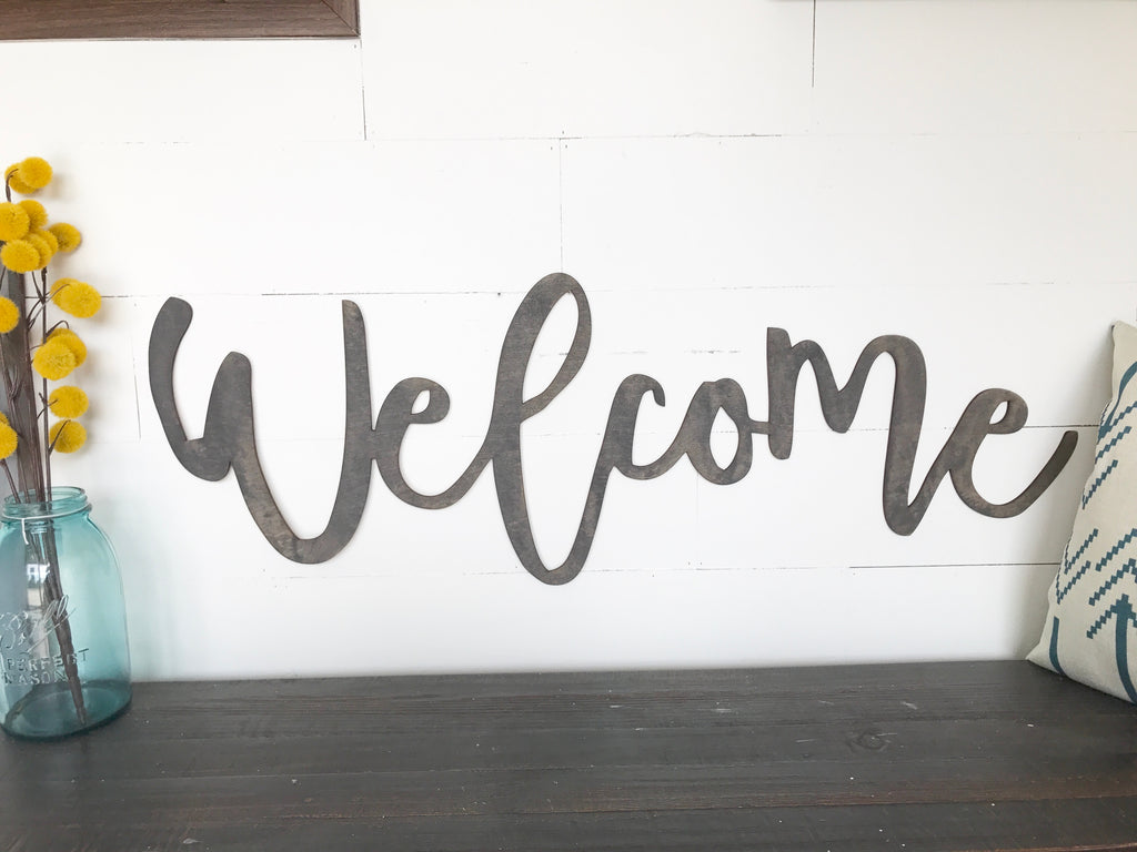 welcome 3D wooden cutout