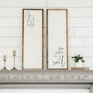 It is well with my soul | 3'x1' Sign Pair