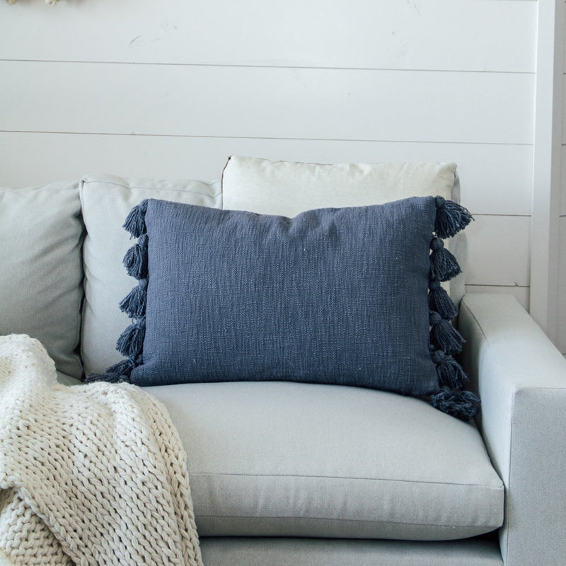 Woven Tassel Lumbar Pillow | Dusty Blue