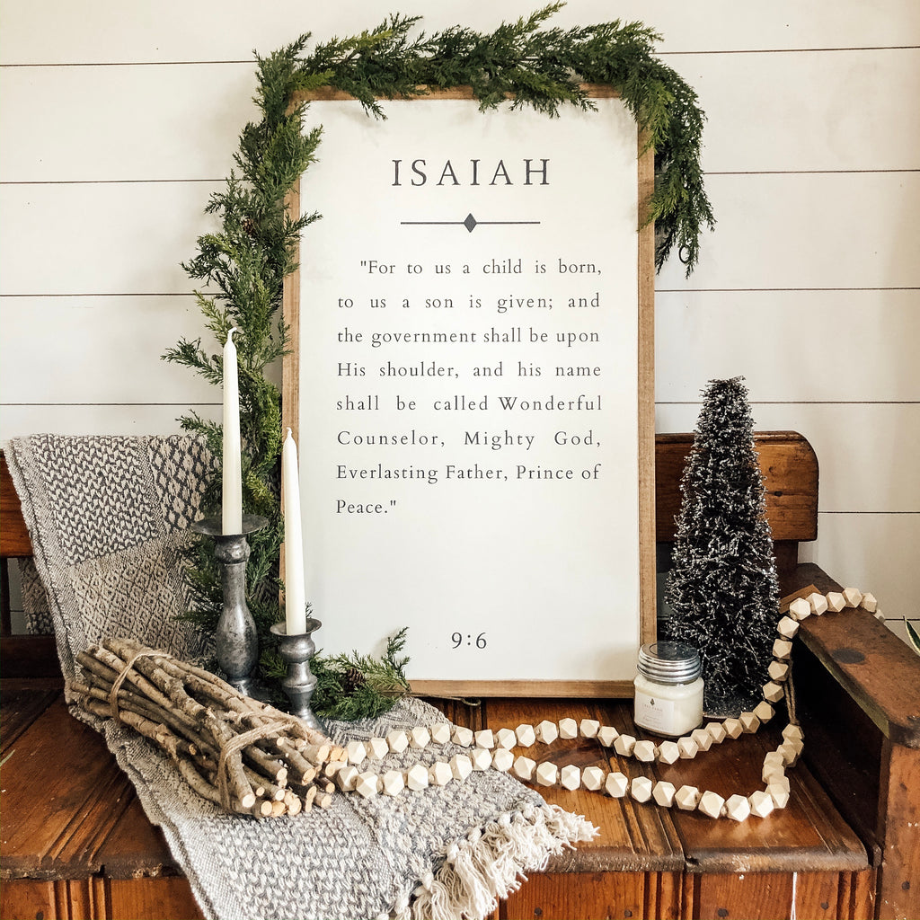 "Isaiah Book Page 30""x18"" Wooden Sign"
