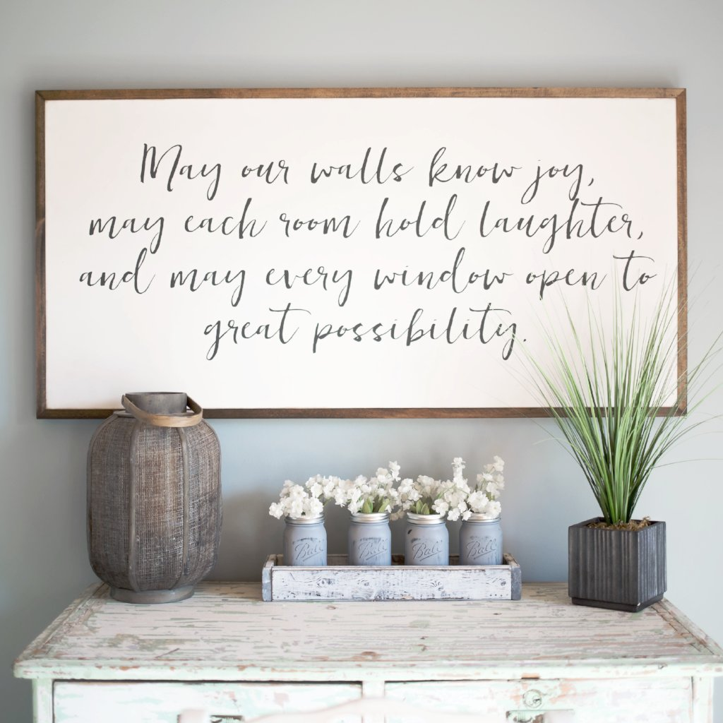 May our walls know joy 4 39 x2 39 wood sign home decor for Room decor signs