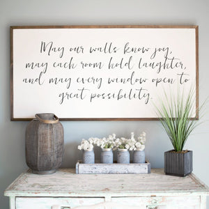 May our Walls know Joy 4'x2' Wood Sign | Home Decor | Living in Yellow |