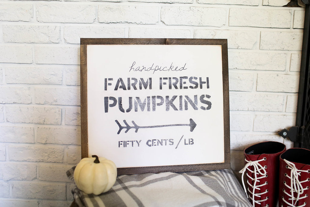 "Farm Fresh Pumpkins 20""x16"" Wooden Sign"