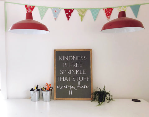 "Kindness is free | 24""x18"" Wood Sign"