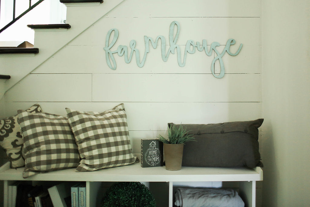farmhouse | 3D word | cutout word | wooden word