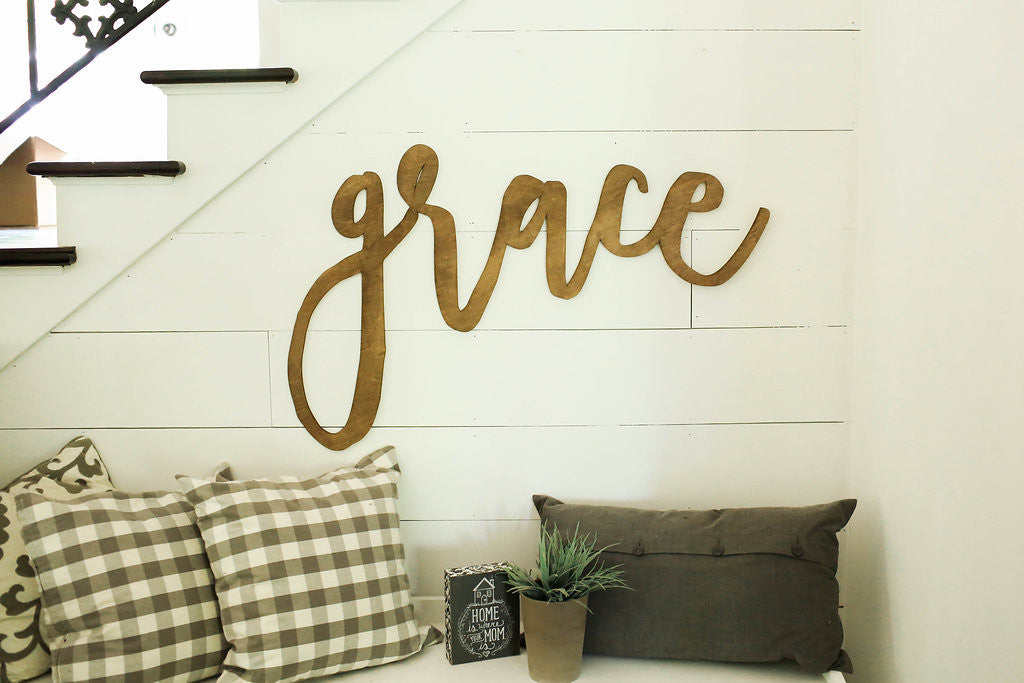 grace | 3D word | cutout word | wooden word