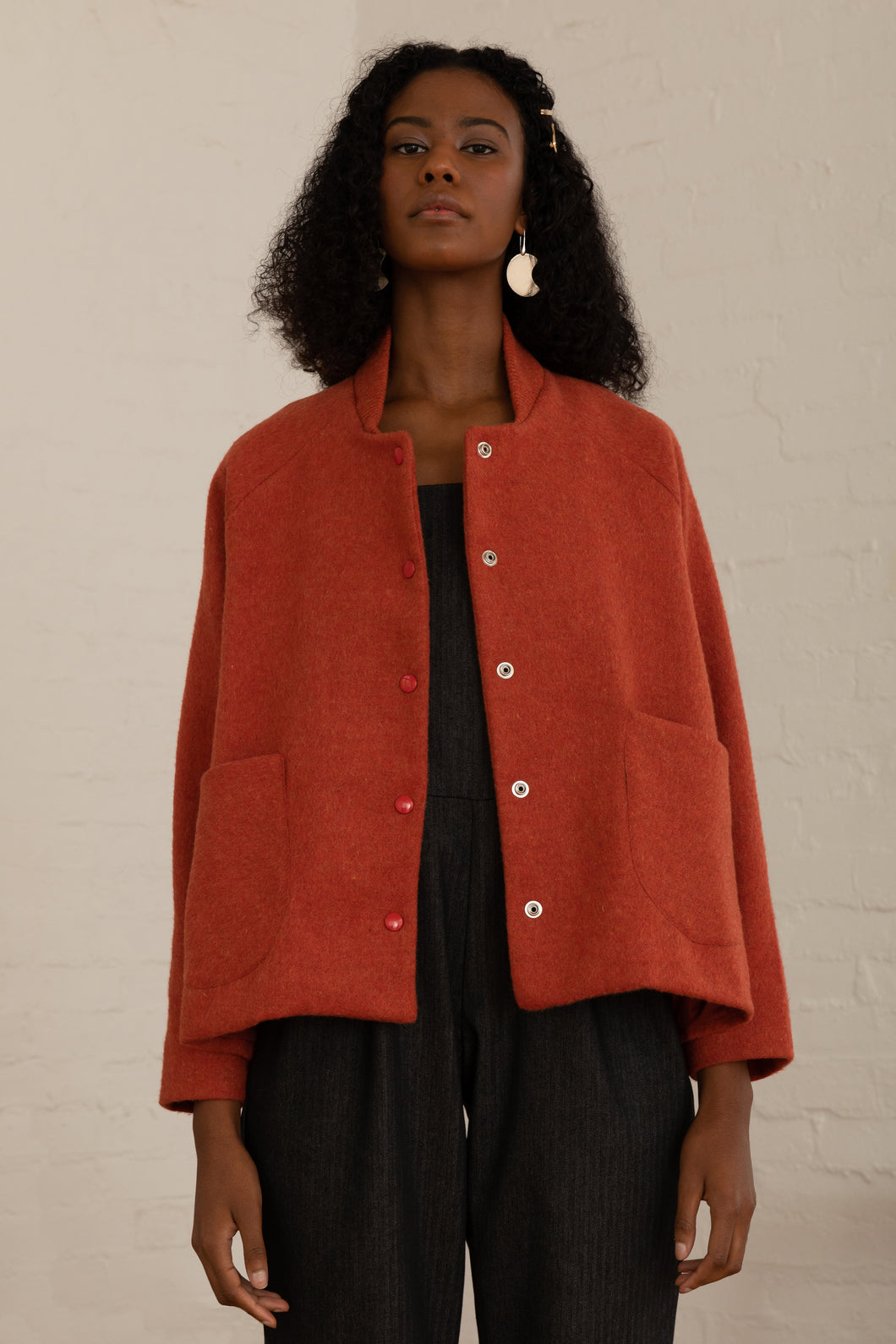 Kona wool Jacket in burnt orange