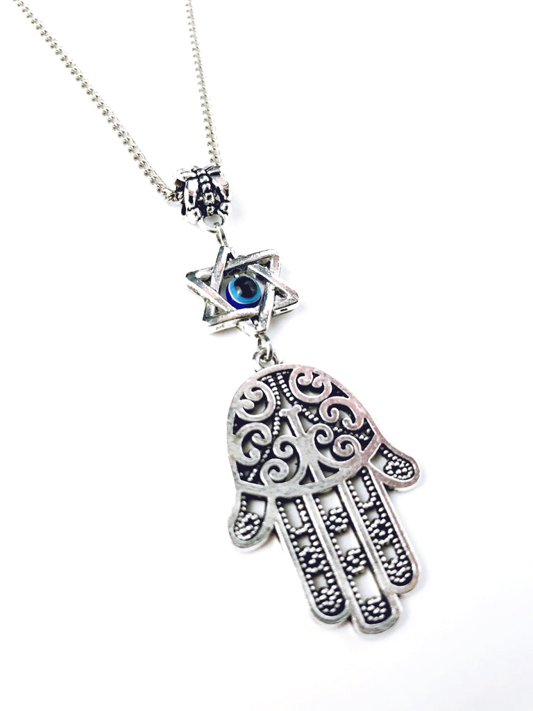 hamsa gift antique charm hand necklace pin pendant silver
