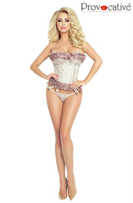 CORSET & STRING CHAMPAGNE,Lingerie,Provocative, - Sexy Dress Outlet
