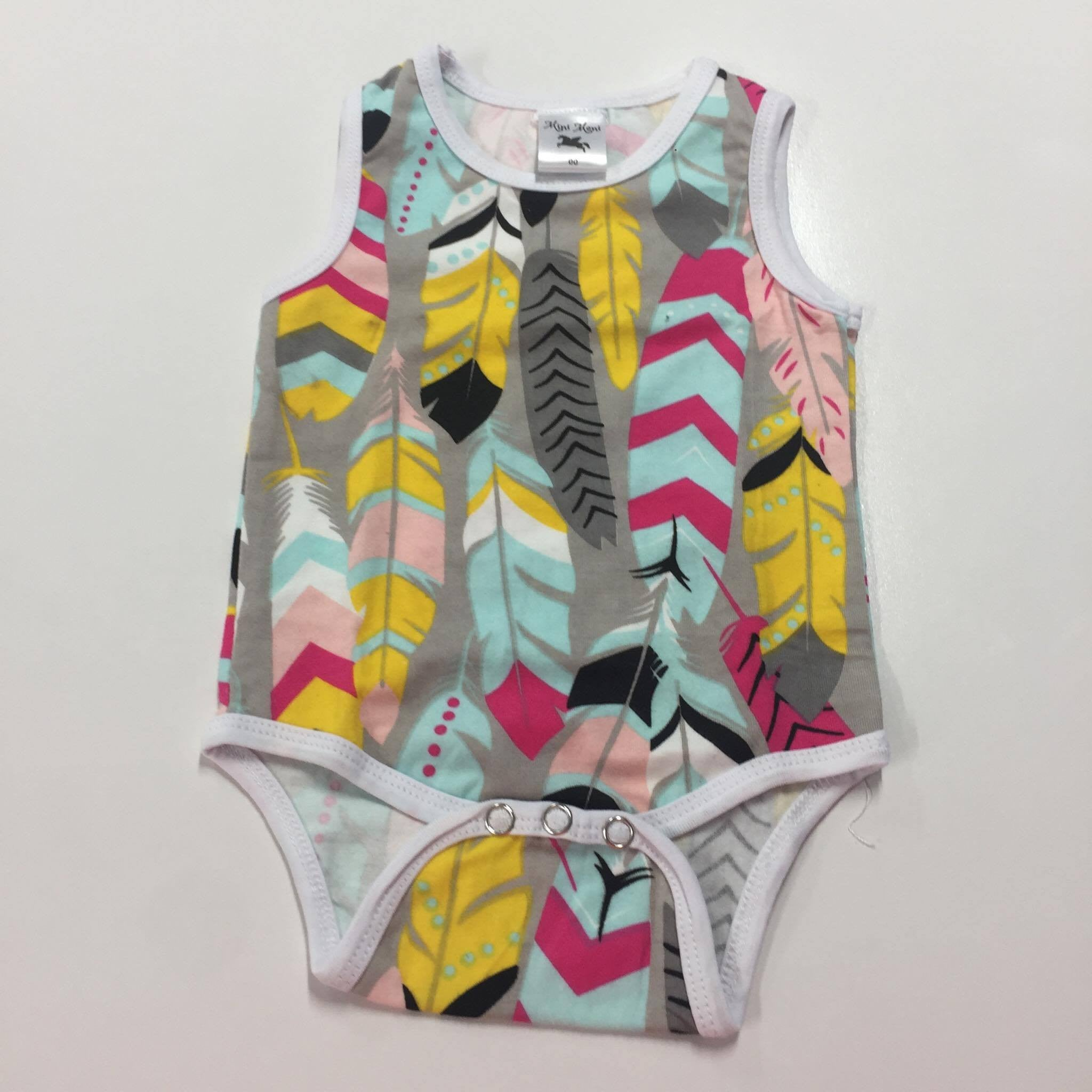 Cotton Spandex Bodysuits - Patterned Short Sleeve