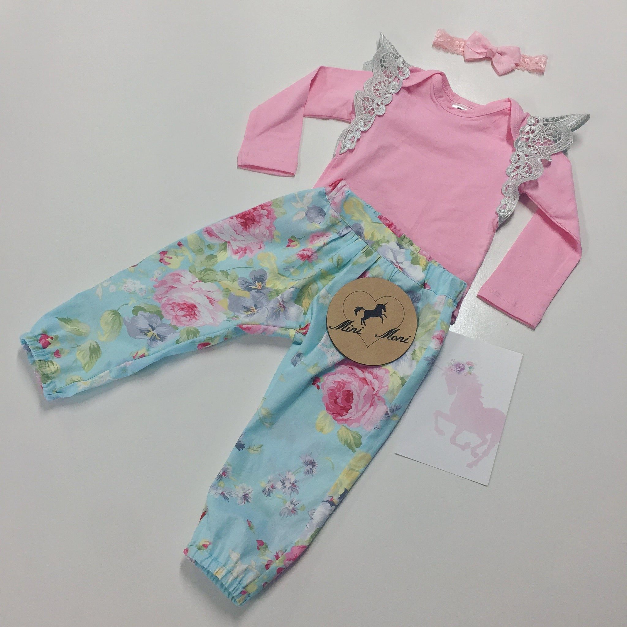 Harem Pants & Long Sleeve Wing Bodysuit Set Size 0000-3