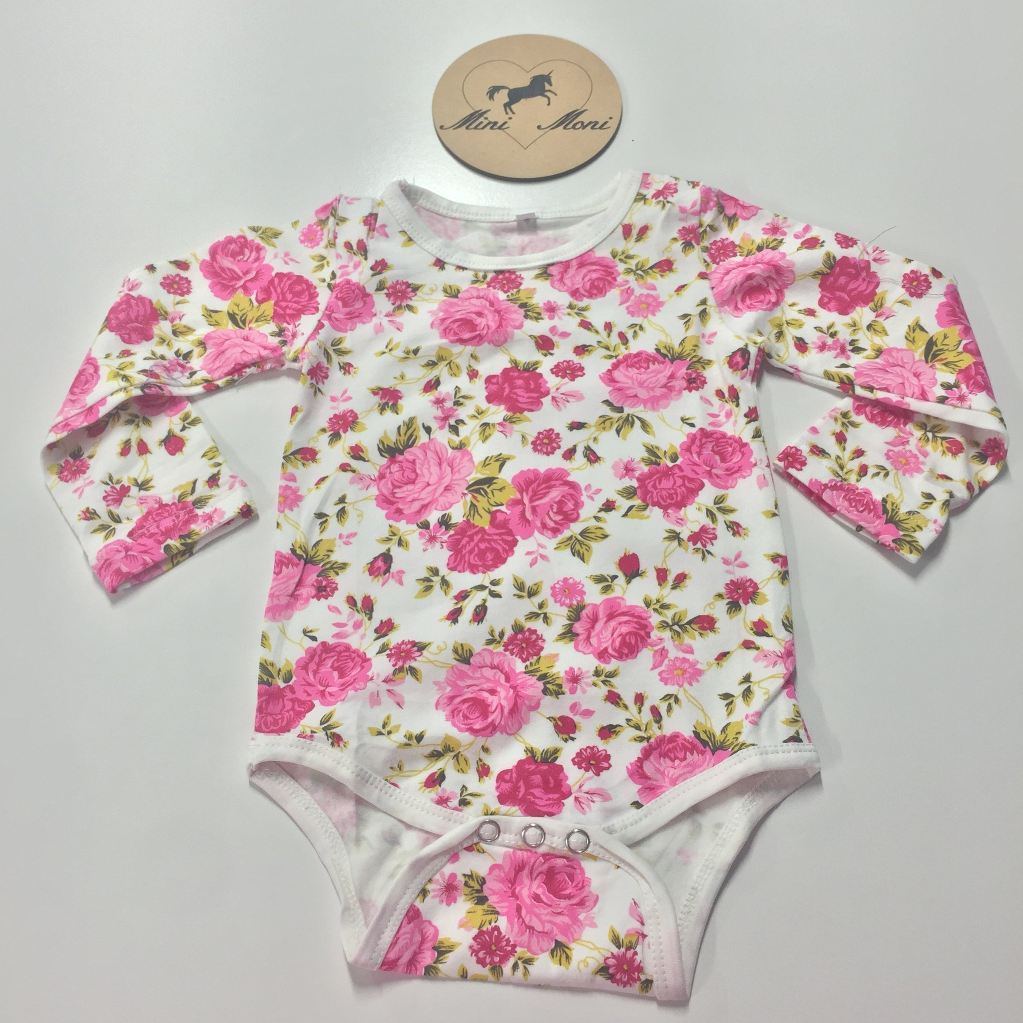 Cotton Spandex Bodysuits - Patterned Long Sleeve