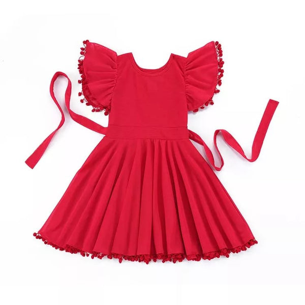 Red flutter dress