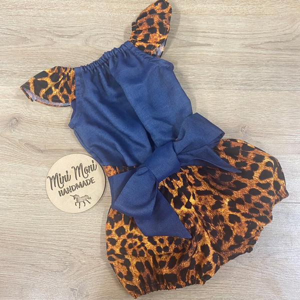 Romper and paper bag shorts set