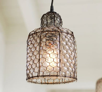 Vintage Style Glass and Wire Pedant light- Handblown Glass Light for Indoor & Outdoor use