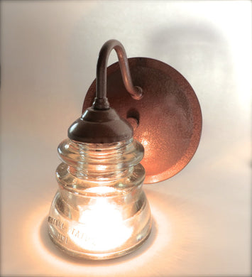 The Original Eco Friendly Custom Sconce Wall Lighting- Your Choice of Glass insulator style and Finish- industrial sconces insulator sconce
