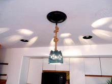 ONLY 1 - Aqua Clay Cut Out Rope Pendant Light - One of of Kind Shadow Casting Light- ON SALE