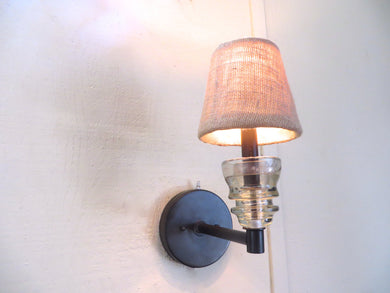 One of a Kind Sconce- Original Insulator Wall Sconce with Burlap Shade