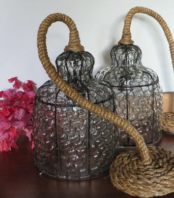 Antique Rope and Wire Pedant light- Handblown Glass and Wire Pendant Light for Indoor & Outdoor use