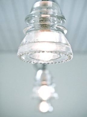 Clear Insulator Pendant Light with Scalloped Glass Edge