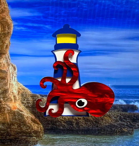 Lighthouse Kraken Brooch