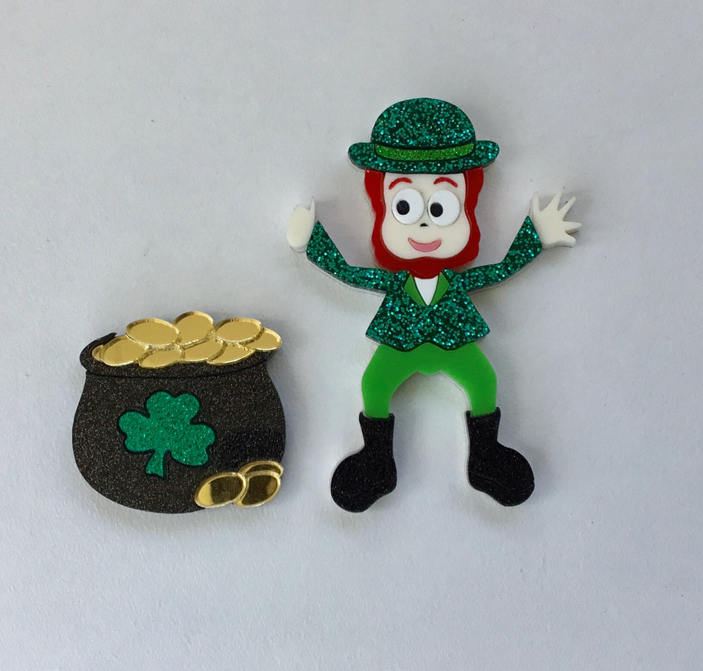 Liam the Leprechaun & Pot of Gold Twin Brooch Set