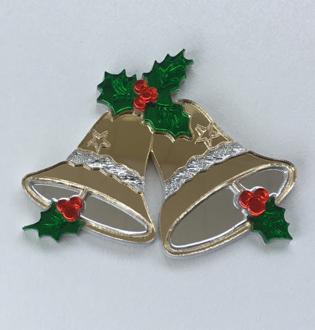 Gold Jingle Bells Brooch