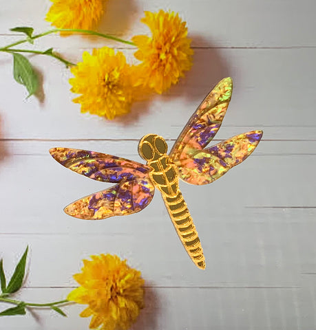 Golden Blue Dragonfly Brooch