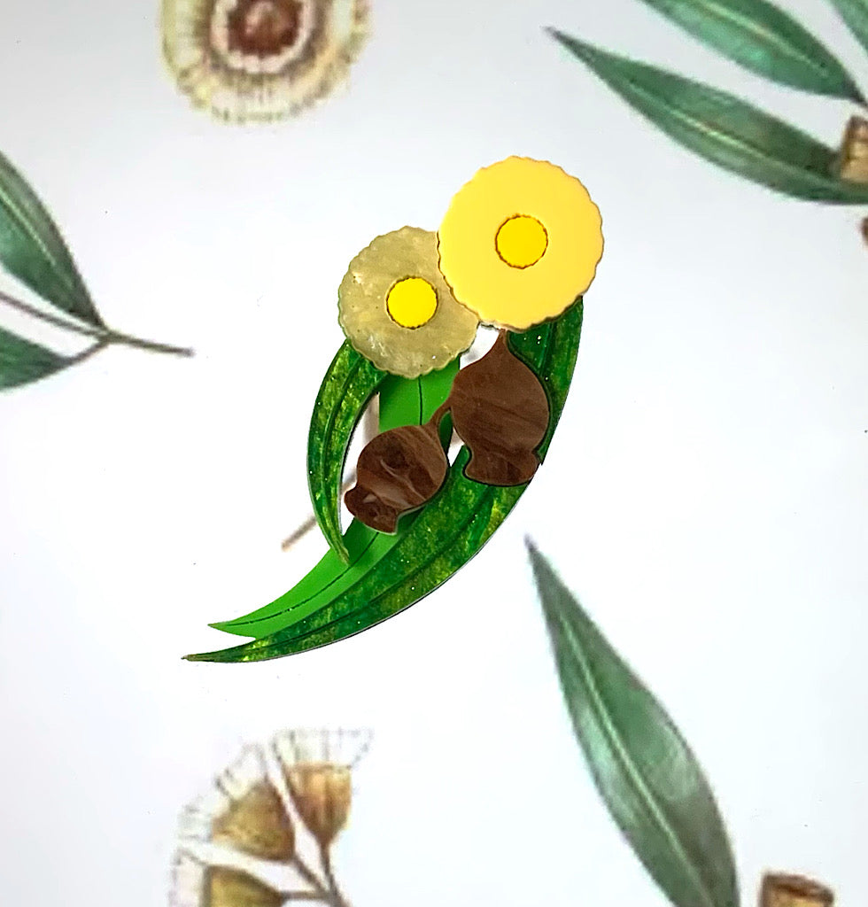 Yellow Gumtree Blossom Brooch