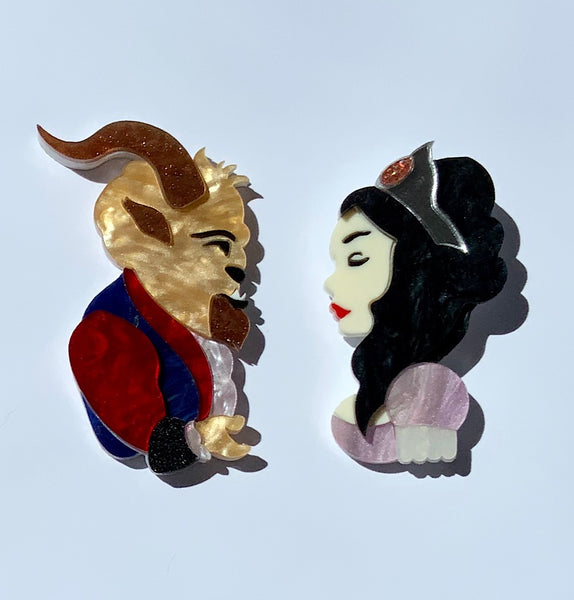 Beauty & The Beast Brooch Set