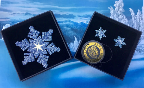 Dark Blue Snowflake Brooch & Earring Set