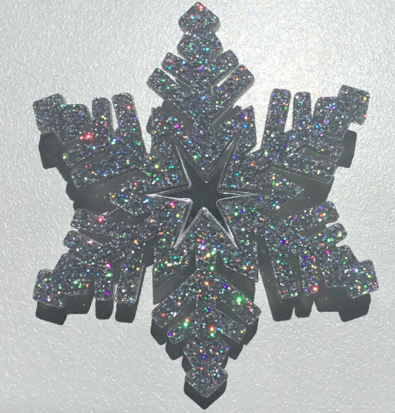 Silver Holographic Snowflake Brooch