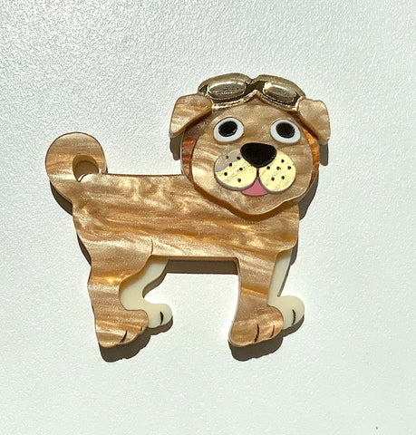 Max the SteamPug Brooch