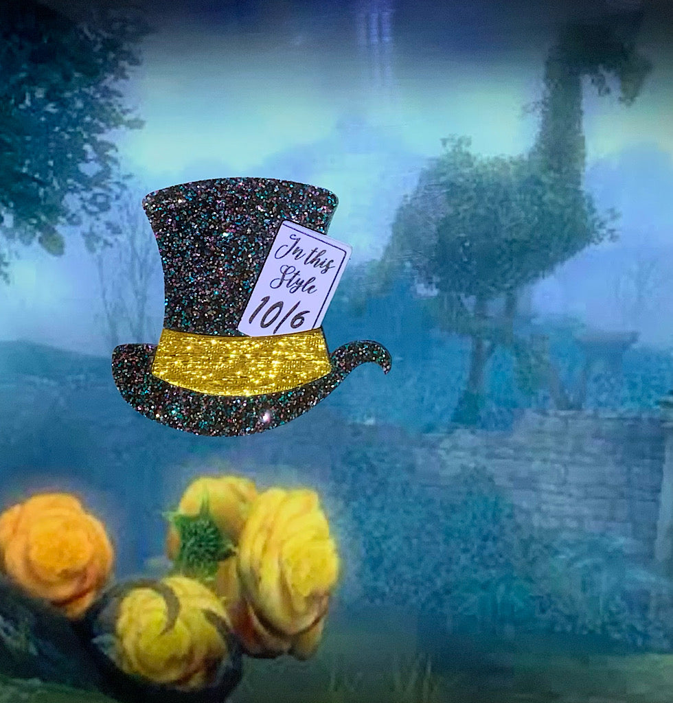 Grey Holo Hatter's Hat Brooch