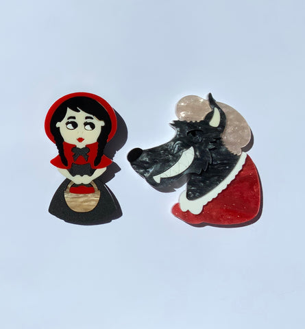 Little Red & Bad Wolf Brooch Set
