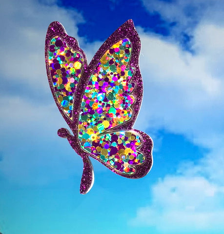 Purple Sparkle Butterfly Brooch