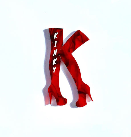 Kinky Boots - Red with Black Swirl Brooch