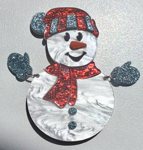 Sam the Snowman Brooch
