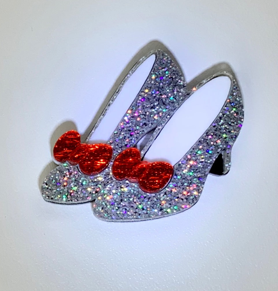 Silver Slippers Brooch