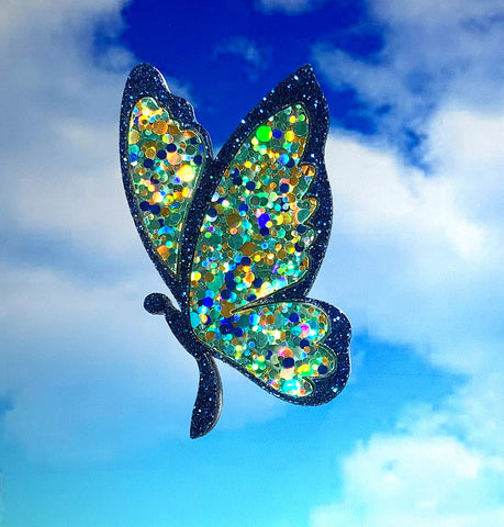 Blue Sparkle Butterfly Brooch