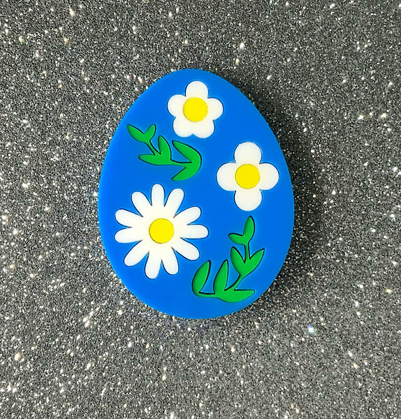 Decorated Egg - Bright Blue Brooch
