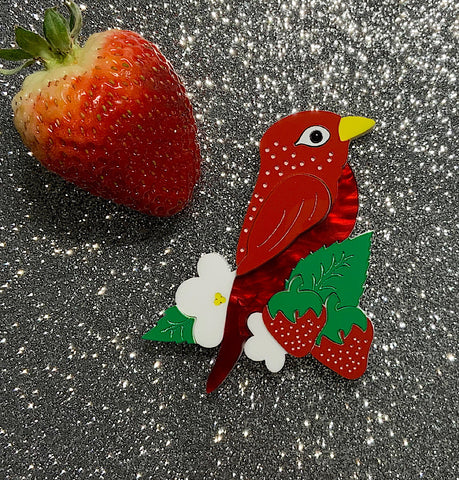 Strawberry Finch Brooch