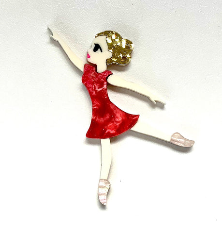 Clockwork Ballerina Brooch - Hot Pink Sparkle