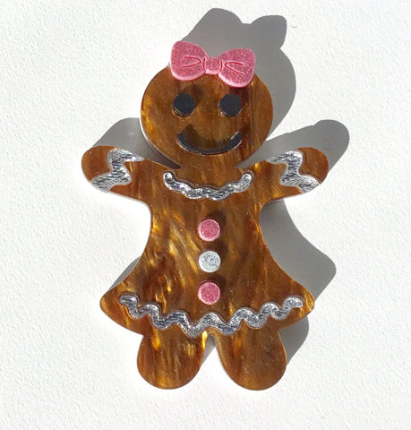 Gertrude the Gingerbread Lady Brooch