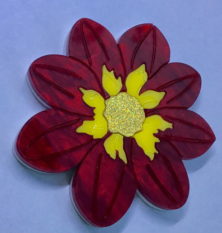 Red Dahlia Desire Brooch