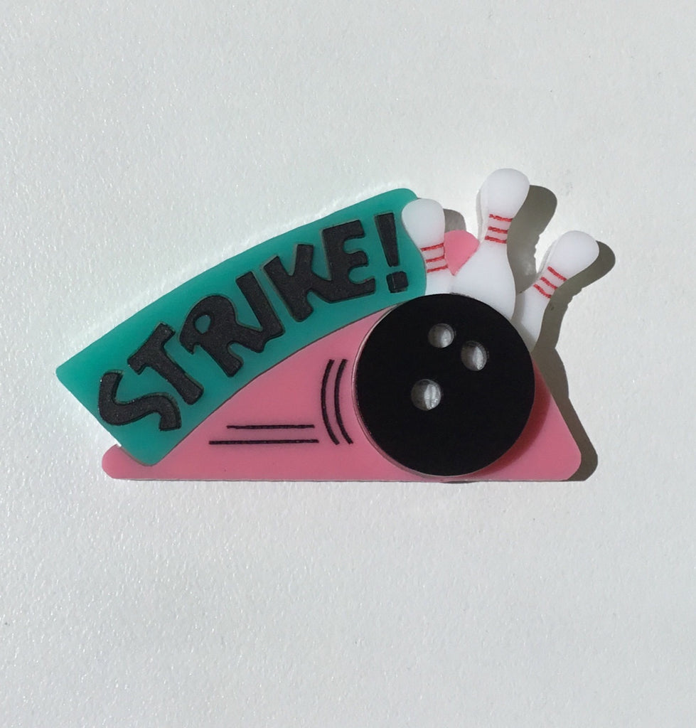 'Strike' Bowling Brooch