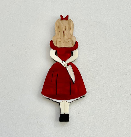 Ruby Red Stabby Alice Brooch