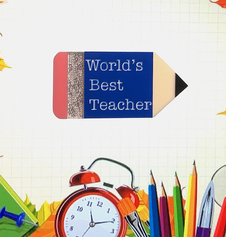 'World's Best Teacher' Pencil Brooch