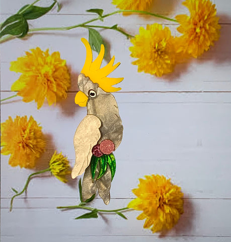 Lulu the Cockatoo Brooch